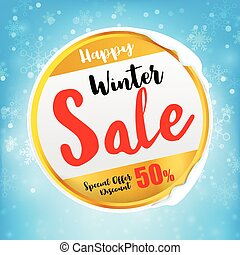 Happy winter sale tex on circle frame with winter snow flake...