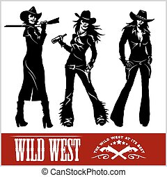 Silhouettes of Western Cowgirls. Vector Illustration -...