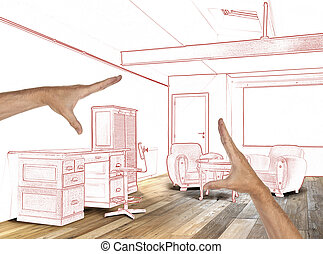 planned interior wide loft, office and wooden floor
