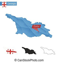 Georgia blue Low Poly map with capital Tbilisi. - Georgia...