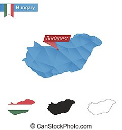 Hungary blue Low Poly map with capital Budapest.