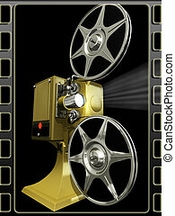 Projector film on a black - Render of projector film on a...
