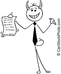 Cartoon Illustration of Smiling Devil Businessman Salesman Offering a Contract or Agreement to Signing