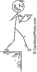 Cartoon Illustration of Walking Man with Handsfree and Tablet Falling Down