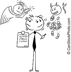 Cartoon Illustration of Businessman or Salesman Offering Contract and Deciding Between Being Good or Bad Person