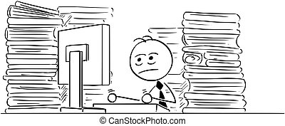 Cartoon Illustration of Unhappy Tired Clerk, Businessman Office Worker Working on Computer