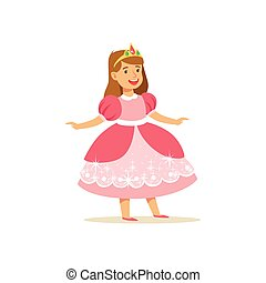 Beautifull little girl princess in pink ball dress and golden tiara, fairytale costume for party or holiday vector Illustration