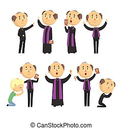 Cartoon catholic priest reading prayer, blessing...