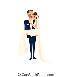 Vector groom carrying bride holding in his arms