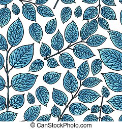 Seamless pattern of birch, honeysuckle blue leaves -...