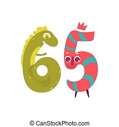 Vector animallike character number sixty five 65 - Vector...