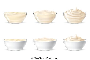 Vector illustrations of mayonnaise, sour cream, sauce, sweet...