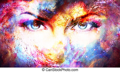 Woman eyes in cosmic background. Eye contact.