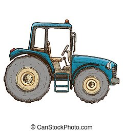 Farming tractor illustration - Farming tractor, colorful...