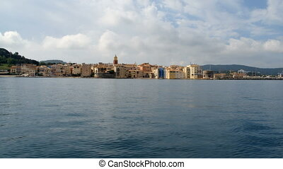St Tropez landscape from a moving boat