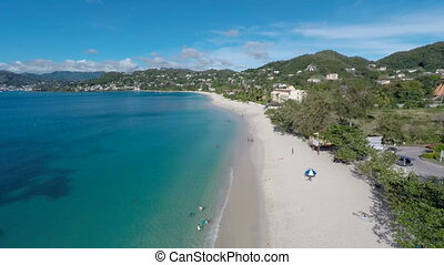 Aerial drone of beach in Grenada - Aerial drone flying over...