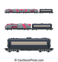 Pink Locomotive with Railway Tank Car , Train, Railway and...
