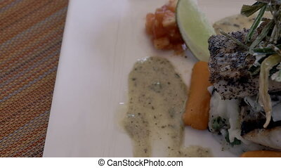 Close up of a fine dining meal - A close up panning shot of...