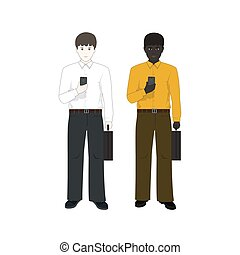 Two Businessmen with Phones - European and an African...