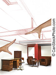 planned renovation of a loft apartment interior with desk...