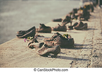 Shoes on the Danube embankment - Monument to the fallen in...