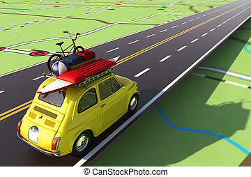 Car loaded with luggage on the road to summer vacation. 3D...