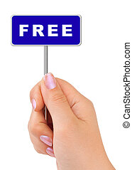Free sign in hand isolated on white background
