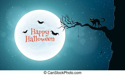 Background for Halloween. Back cat walks through the tree. Bats fly against the background of the full moon. Bloody red text