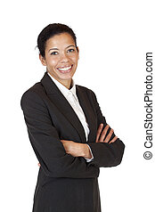 Self confident business woman smiles happy into camera
