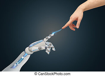 human and robot hands reaching to each other - science,...