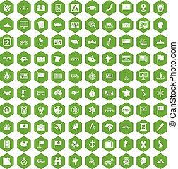 100 cartography icons hexagon green - 100 cartography icons...