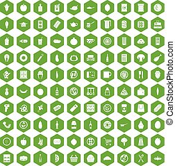 100 lunch icons hexagon green - 100 lunch icons set in green...