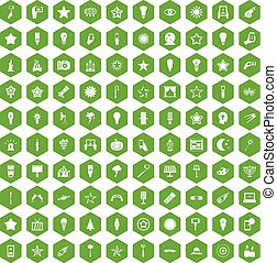 100 light icons hexagon green - 100 light icons set in green...