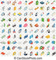100 team building icons set, isometric 3d style