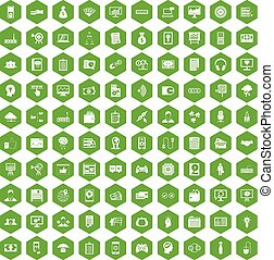 100 IT business icons hexagon green - 100 IT business icons...