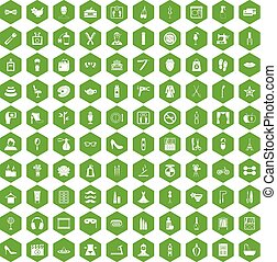 100 beauty and makeup icons hexagon green - 100 beauty and...