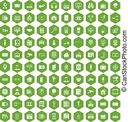 100 camera icons hexagon green - 100 camera icons set in...