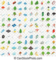 100 weather icons set, isometric 3d style - 100 weather...