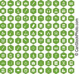 100 hi-school icons hexagon green - 100 hi-school icons set...