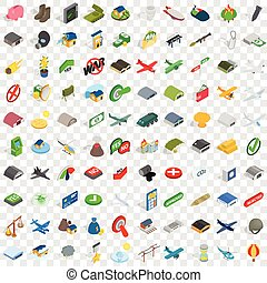 100 war icons set, isometric 3d style - 100 war icons set in...