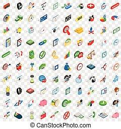 100 transaction icons set, isometric 3d style - 100...