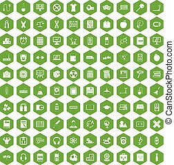 100 learning kids icons hexagon green