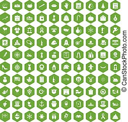 100 national holiday icons hexagon green - 100 national...