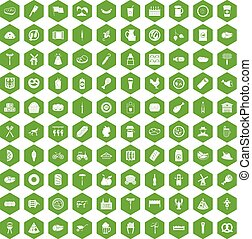 100 meat icons hexagon green - 100 meat icons set in green...