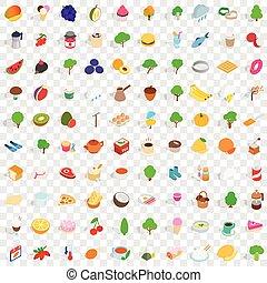 100 vegan icons set, isometric 3d style - 100 vegan icons...