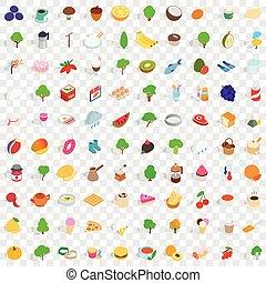 100 vegetarian icons set, isometric 3d style - 100...