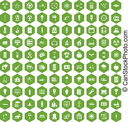 100 electricity icons hexagon green