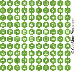100 mobile icons hexagon green - 100 mobile icons set in...