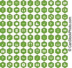 educación, iconos, verde,  100, hexágono,  musical