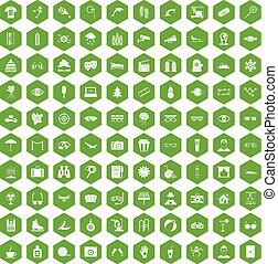 100 glasses icons hexagon green - 100 glasses icons set in...